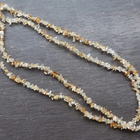 Citrine Chips - citrine gemstone & sterling silver 2-strand necklace
