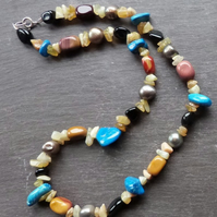 Hotchpotch - mixed gemstone necklace with opal chips, pearl, mookite, silver
