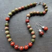 Autumn Woodland  - necklace & ears with unakite, red jasper and sterling silver