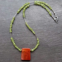 Start of Autumn - necklace with peridot, carnelian and sterling silver
