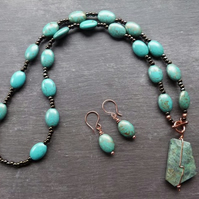 Long toggle necklace with earrings - turquoise magnesite, jasper, glass & copper
