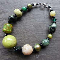 Green Hotchpotch - bracelet with mixed green gemstones & sterling silver