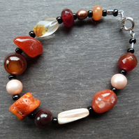 Orange Hotchpotch - bracelet with mixed orange gemstones & sterling silver