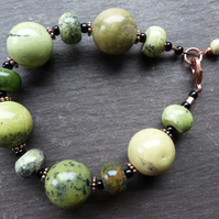 Big Green Baubles - green chrysotine and copper bracelet