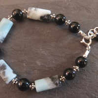 Amazonite, black onyx and sterling silver bracelet