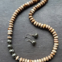What a Picture! - picture jasper, pyrite & sterling silver necklace & earrings