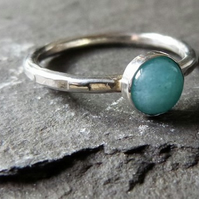 Sterling silver ring with amazonite - stacking ring - size M - aqua blue