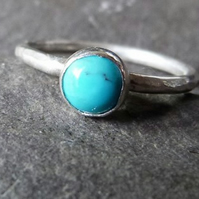 Sterling silver ring with turquoise - UK size N - December birthstone