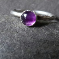 Sterling silver ring with fluorite - stacking ring - gorgeous purple shade