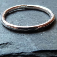 Hammered sterling silver ring - stacking ring - textured - 1.8mm - size M (EU 53