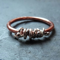Copper ring with sterling silver wrapped vines - mixed metal ring - UK Size O