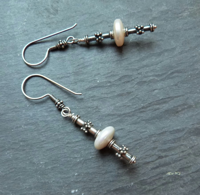 Bali Pearls Too - sterling silver earrings with  freshwater pearls & Bali silver