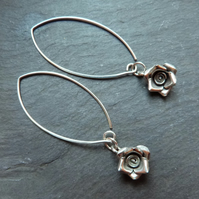 Silver Roses - long sterling silver earwires with Hill Tribe silver roses