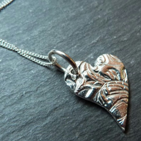 Textured lazy heart pendant - fine silver and sterling silver