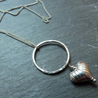Sterling silver heart pendant - sterling silver and hill tribe silver