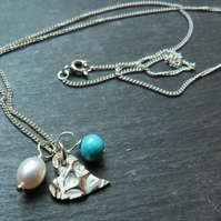 Silver heart pendant with turquoise and pearl - textured fine silver lazy heart