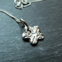 Textured flower pendant - fine silver and sterling silver