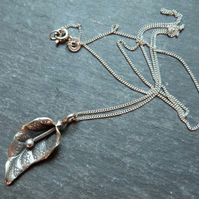 Hill-Tribe silver lily pendant and sterling silver chain - handmade pendant