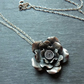 Hill-Tribe silver rose pendant and sterling silver chain - 24mm handmade pendant