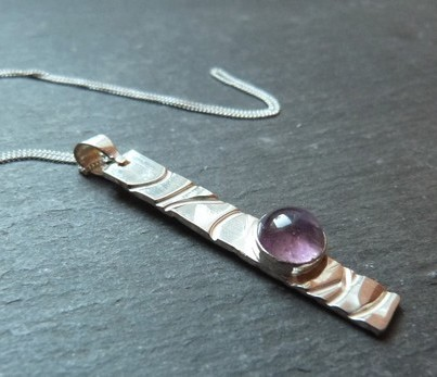 Dented Amethyst - textured sterling silver pendant with amethyst