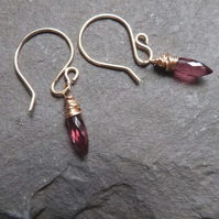 Rubilite garnet and gold-fill wrapped drops - January birthstone- petite drops