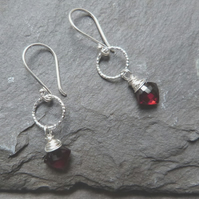 Sterling silver earrings with red garnet kites - January birthstone - rich red