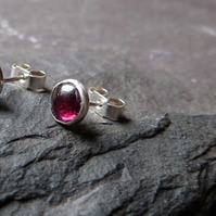 Sterling silver and garnet studs - January birthstone - rich red gemstones