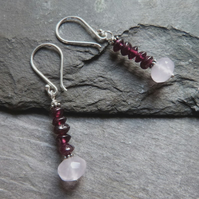 Sterling silver earrings with red garnets and rose quartz - January birthstone