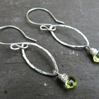 Sterling silver earrings with peridot kites - August birthstone