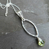 Sterling silver pendant with peridot kite briolette - August birthstone