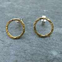 Hammered brass and sterling silver ring studs -  mixed metals - gold studs