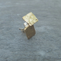 Hammered brass square studs with sterling silver fittings