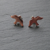 Copper bird studs - copper bird shapes with sterling silver fittings - 15x10mm