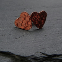 Textured copper heart studs - 10mm hearts with sterling silver fittings