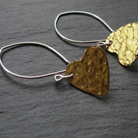 Hammered brass hearts on curvy sterling silver earwires - raw brass
