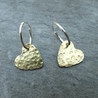 Hammered brass hearts on sterling silver hoops - gold hearts - raw brass