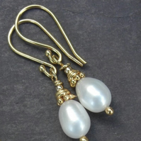 Golden Rose - gold vermeil earrings with freshwater pearls