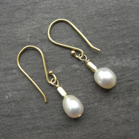 Golden Glow - freshwater pearl earrings with 24ct gold vermeil