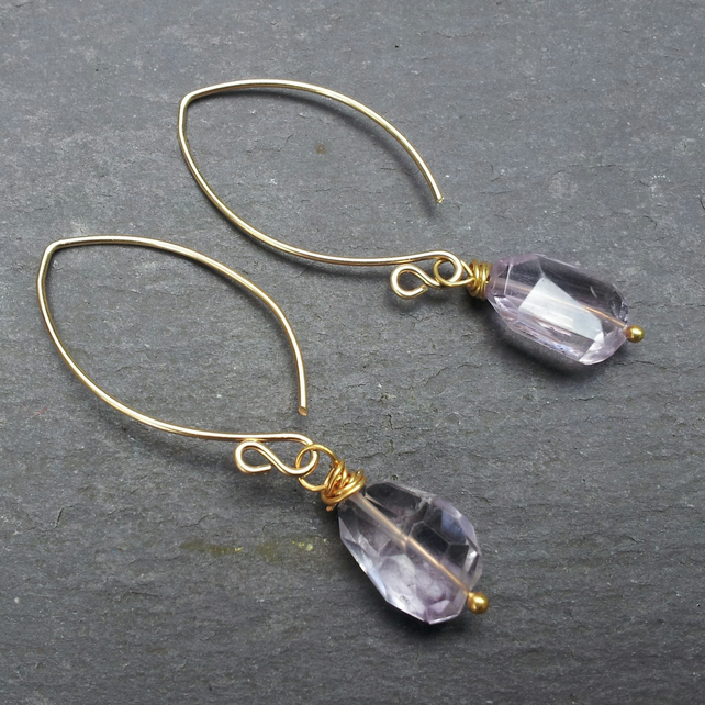 Rosy Glow - Pink amethyst earrings with gold-filled metal