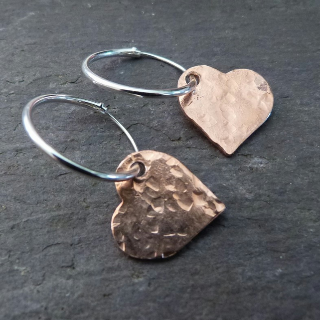 Hammered copper hearts on sterling silver hoops