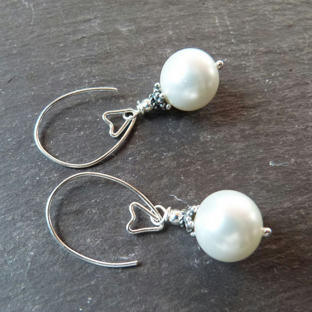 Curvy Pearls - sea shell pearls with long sterling silver earwires