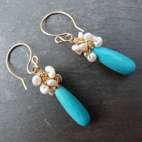 Crest of a Wave - turquoise and freshwater pearl wrapped rolled gold earrings
