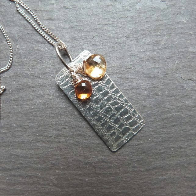 Textured sterling silver pendant with citrines - November birthstone