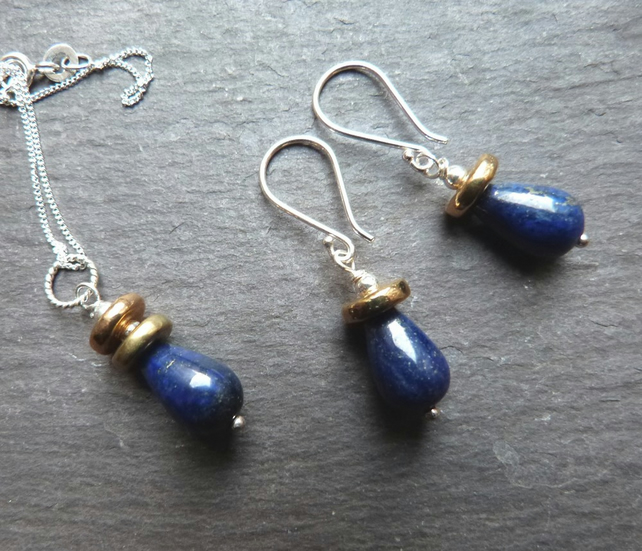Lapis lazuli and sterling silver pendant and earring set