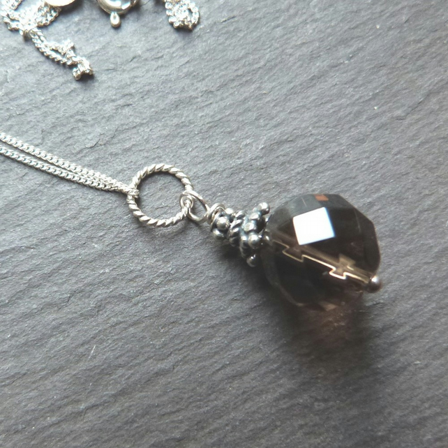 Bali Smoky Quartz - sterling silver pendant with faceted smoky quartz