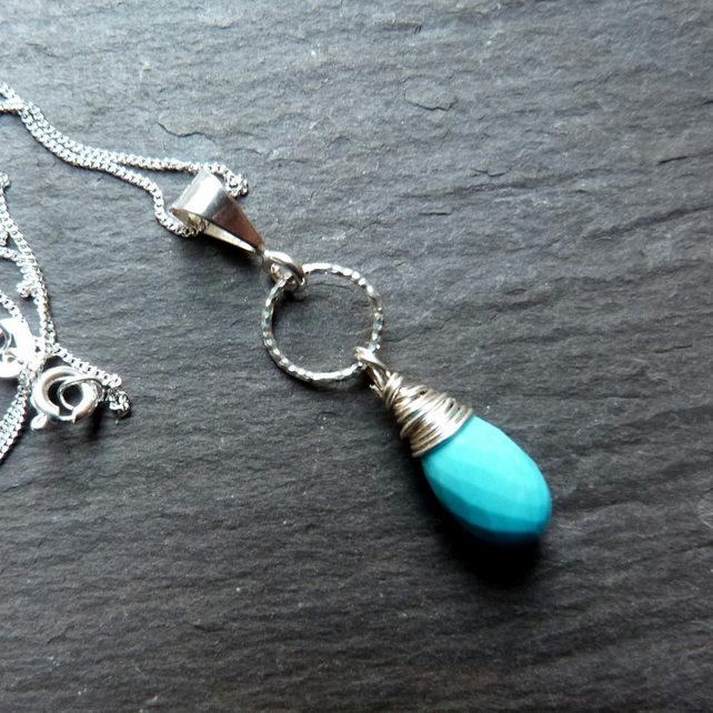 Cool Turquoise - sterling silver pendant with a faceted turquoise drop