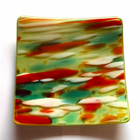 Multicoloured fused glass plate (0389)