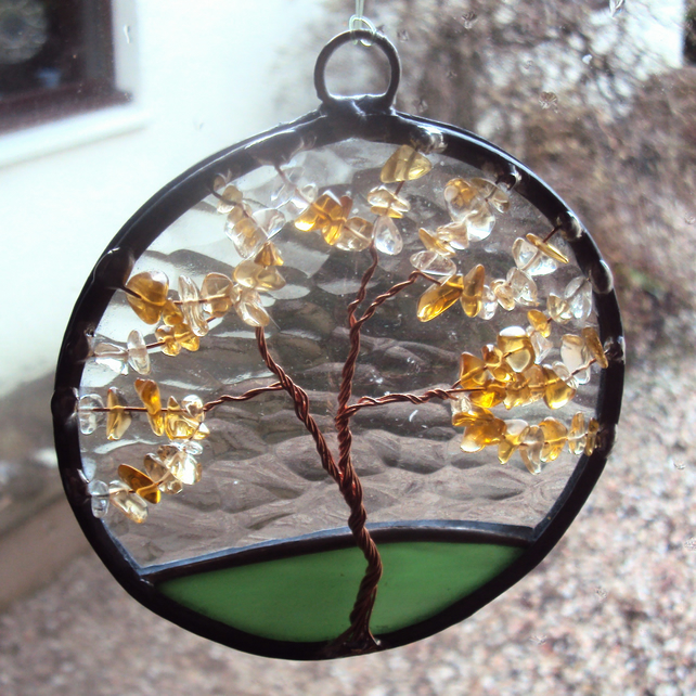 Citrine Tree of LIfe suncatcher (100mm version) 0307