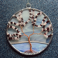 Garnet and rose quartz gemstone tree of life panel 0303