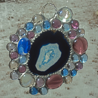 Blue agate and glass nugget suncatcher 0330